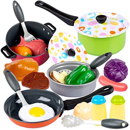 Küchenspielzeug Zubehör Topfset, Kinderküche mit Kochgeschirr Pfannen Kochtopf Kinderkochgeschirrset KP7370...