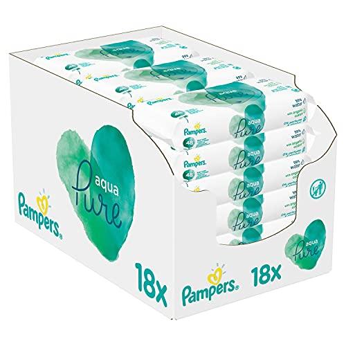 Pampers Aqua Pure Baby Feuchttücher, 864 Tücher (18 x 48) Mit 99% Purem Wasser, Dermatologisch Getestet,...