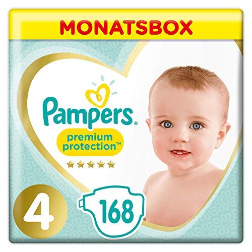 Pampers Premium Protection Windeln, Gr. 4, 9-14kg, Monatsbox (1 x 168 Windeln), Pampers Weichster Komfort Und...