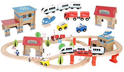 Holzeisenbahn Eisenbahn Kinder Zug Spielzeug 89 Teile mit Bateriebetriebene Lokomotive 9362