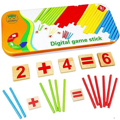 Natureich Montessori Mathe Spielzeug Holz Metallbox zum Aufbewahren Zahlen Lernen Rechenstäbchen Bunt ab 3...