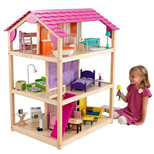 KidKraft 65078 So Chic Puppenhaus aus Holz mit Möbeln und Zubehör, Spielset mit drei Spielebenen für 30 cm...