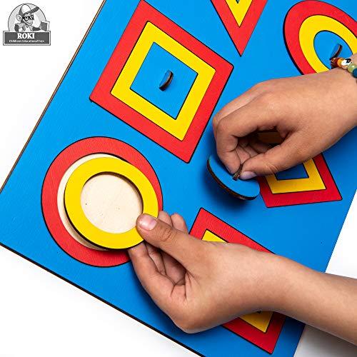 ROKI TOYS Steckpuzzle Holz ab 1 Jahr Premium Qualitäts Holzspielzeug ab 1 Jahr mit Geometrie Formen...