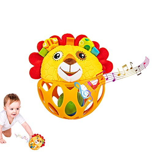 Baby Spielzeug ab 0 Monate, Löwe Rassel Baby Greifball, Greifling, Shake & Krabbel Motorikspielzeug...