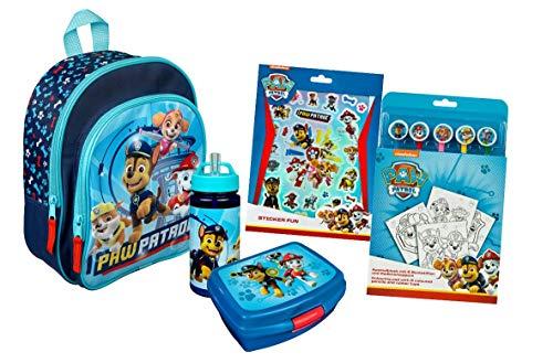 Paw Patrol Kindergartenrucksack Set 5-TLG. mit Rucksack, Brotdose, Trinkflasche, Sticker Set und Ausmalblock...