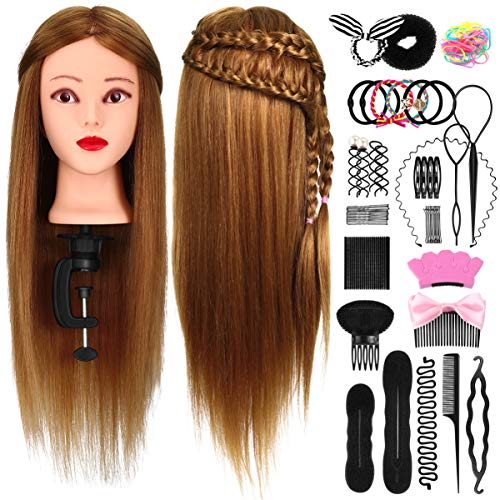 FRCOLOR Trainingsköpfe für Friseure, 26 50% Echthaar Haar Übungskopf Frisierkopf Haare Frisuren Set...