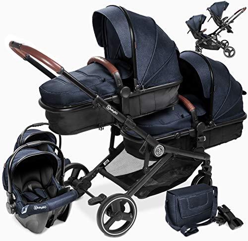 babyGO Kinderwagen 3 in 1 für Zwillinge - Geschwisterkinderwagen/Geschwisterwagen für Babys -...