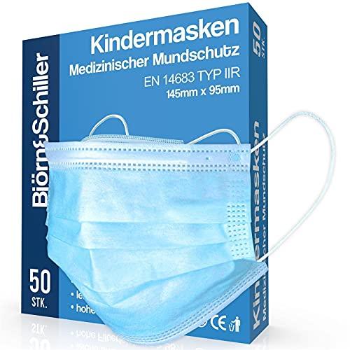 OP Masken Kinder CE zertifiziert EN 14683 Type IIR, 50 Stück, medizinischer Mundschutz, 3-lagige Einweg...