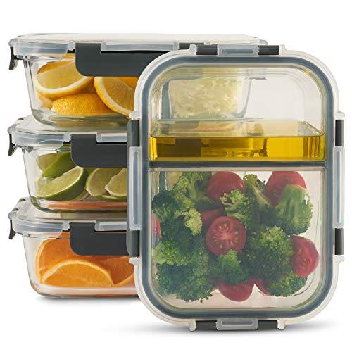 Zoë&Mii hochwertige Glas Frischhaltedose mit Deckel – 4-er Set, 2-Fach, Meal Prep Glas – Auslaufsichere...