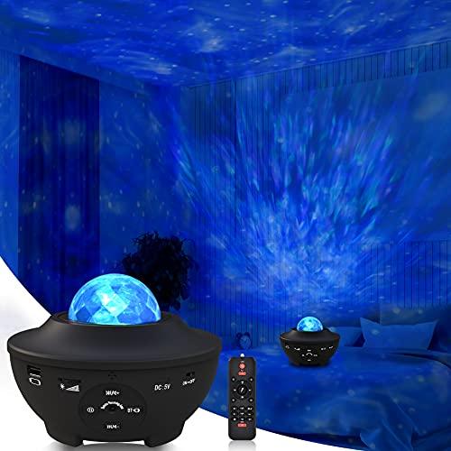 Sylvwin LED Sternenlicht Projektor,Sternenhimmel Projektor mit Bluetooth Musikspieler,Rotierende Wasserwellen...