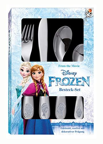 POS 25650 - Besteckset mit Disney Frozen Prägung, 4 teiliges Kinderbesteck aus rostfreiem Edelstahl,...