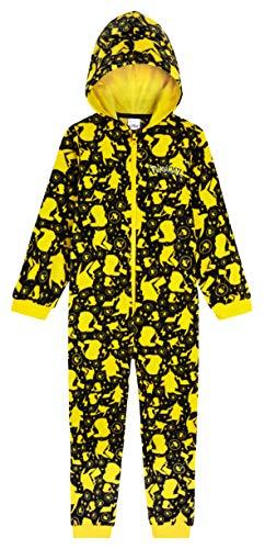 Pokemon Jumpsuit Kinder, Pikachu Einteiler Onesie Kinder Jungen 4-14 Jahre, Fleece Overall Kostüm mit Kapuze,...