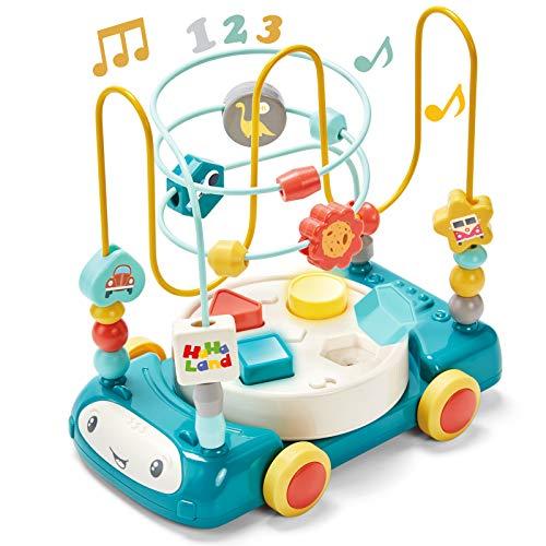 CubicFun Motorikschleife Baby Spielzeug Perlen Labyrinth Motorikwürfel mit Musik und Lichtern für ab 1 2 3 4...