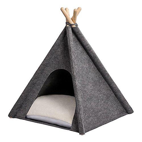 MYANIMALY Tipi Zelt für Haustiere, Katzenzelt, Haustierbett, Haustierhütte für Hunde und Katzen mit...