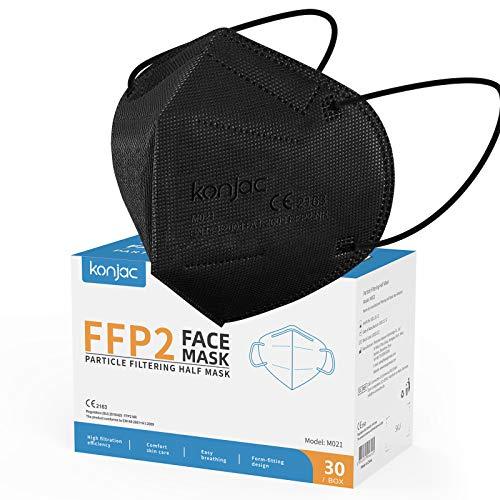 konjac FFP2 Maske 30 Stück Masken Mundschutz FFP2, 5-lagig Einwegmasken Atemschutzmaske Gesichtsmaske Einzeln...