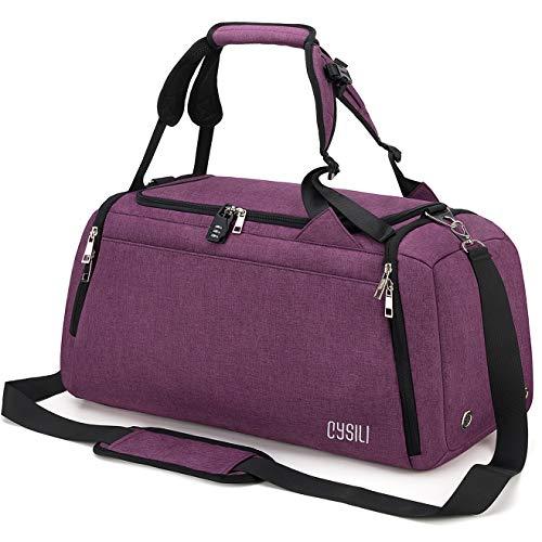 CySILI® Reisetasche Sporttasche mit Rucksack-Handgepäck mit Schuhfach - Nassfach & Zahlenschloss - Männer &...