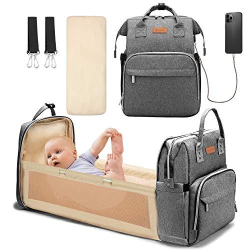 Yoofoss Baby Wickelrucksack Wickeltasche Rucksack mit mobiler Wickelauflage Wasserdichter Babyrucksack Große...