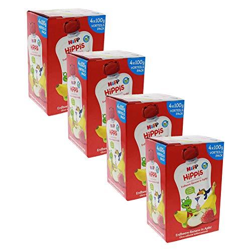 HiPP HiPPiS Quetschbeutel Vorteilspack, Erdbeere-Banane in Apfel, 100% Bio-Früchte ohne Zuckerzusatz, 4 x 4...