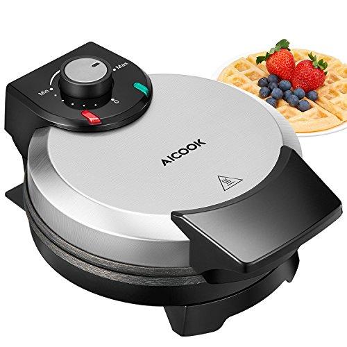 Waffeleisen 1000W Aicook, Waffeleisen Belgische Waffel Rund Waffle Maker, Elektrischer Waffelautomat...