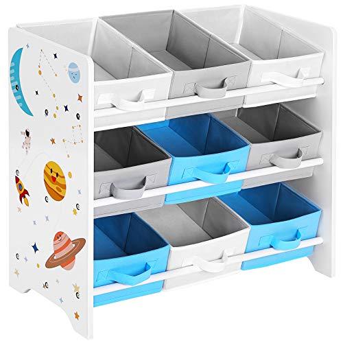 SONGMICS Kinderzimmerregal, Spielzeug-Organizer, Bücherregal für Kinder, mit 9 Aufbewahrungsboxen aus...