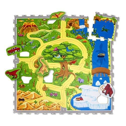 Hakuna Matte Puzzlematte für Babys Dinosauriersafari 1,2x1,2m, 16 Fliesen – 20% dickere Spielmatte in Einer...