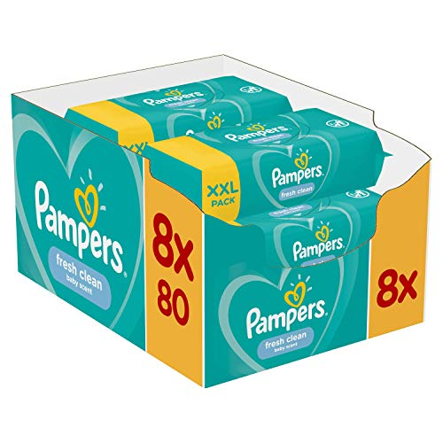 Pampers Baby Feuchttücher Fresh Clean, Dermatologisch Getestet, 640 Tücher (8 x 80)