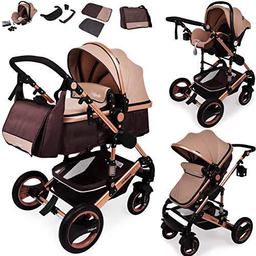 Daliya Bambimo 3 in 1 Kinderwagen - Kombikinderwagen Riesenset 14-Teilig incl. Babywanne & Buggy &...