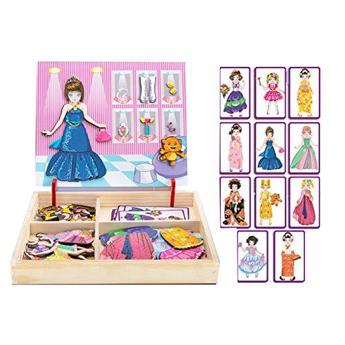 WFF Spielzeug Dress Up Spielzeug Holzmagnetpuzzle Kinder Lernspielzeug 2-3-4-6-7-jährigen Jungen und Mädchen...