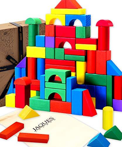 Jaques Von London - Holzbausteine für Kinder perfekt Babyspielzeug ab 1 Jahr geeignet Holzspielzeug 1 2 3...