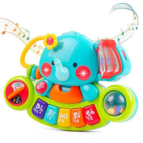 Eutionho Baby Musikspielzeug für 6 9 12 18 Monate Kleinkinder, Elefant Klavier tastatur Musik Spielzeug mit...