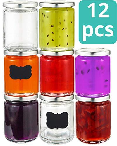 Praknu 12 Einmachgläser 500ml mit Deckel, Etiketten - Luftdichte Twistoff Gläser zum Konservieren