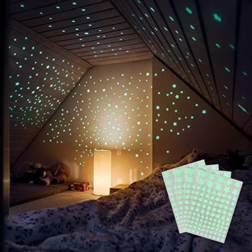 400 Leuchtsterne selbstklebend [Testsieger 2021] Sternenhimmel Aufkleber - Fester Halt auf allen Oberflächen...