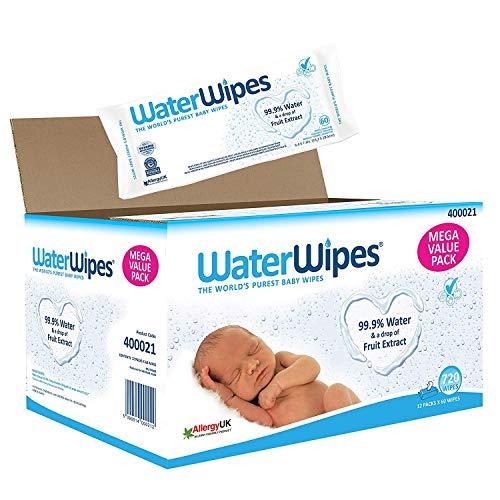 WaterWipes Baby Feuchttücher Empfindliche Haut, 99,9% gereinigtes Wasser, 12 x 60 Feuchttücher (720...