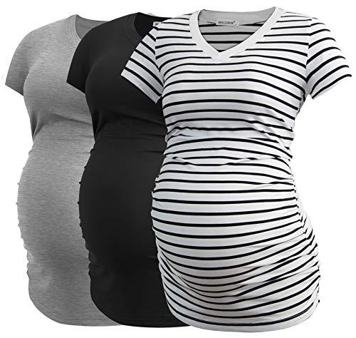Smallshow Damen Umstandstop V Hals Schwangerschaft Seite Geraffte Umstandskleidung Tops T Shirt 3...