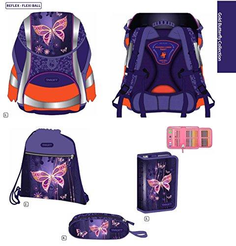 Exclusiv*6tlg.Schmetterling DIN58124 Schulranzen Set ERGONOMISCHER Schulrucksack (Ausgezeichnet mit Red Dot...