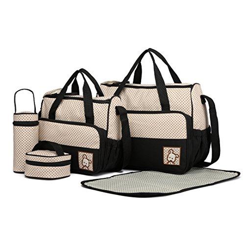Miss Lulu 5er-Set Baby Wickeltasche Babytasche Tasche Mutter Windeltasche Handtasche Schultertasche...
