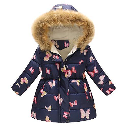 XXYsm Kinder Baby Mädchen Mantel Winter Jacke mit Kapuze Schmetterling drucken Coat Winddicht Outwear...