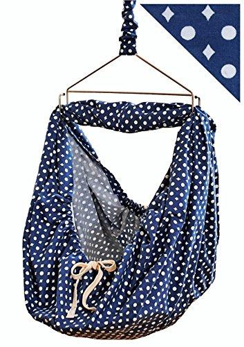 LaLeLu Federwiege | Babyhängematte (100% BIO-Baumwolle, Handmade, bis 15 kg, Blau mit Punktmuster)