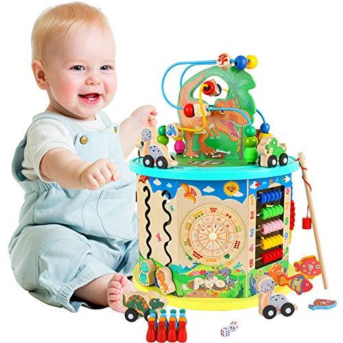 Arkmiido Holzwürfel Spielzeug für Kinder Motorikwürfel 11-in-1 Multifunktionsperlen Labyrinth Dinosaurier...