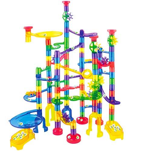JOYIN 170 Stück Mehrfarbige Murmelbahn Marble Run Set mit 120 Kunststoffteile 50 Glasmurmeln, Bausteine,...