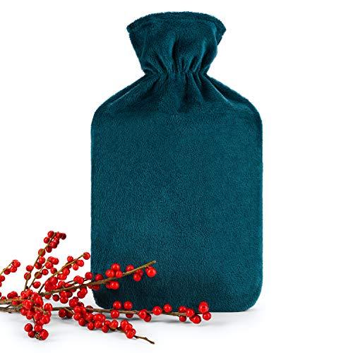 Blumtal Wärmflasche mit weichem Bezug - 1,8L Wärmeflasche, Bettflasche, Wärmflasche, petrol