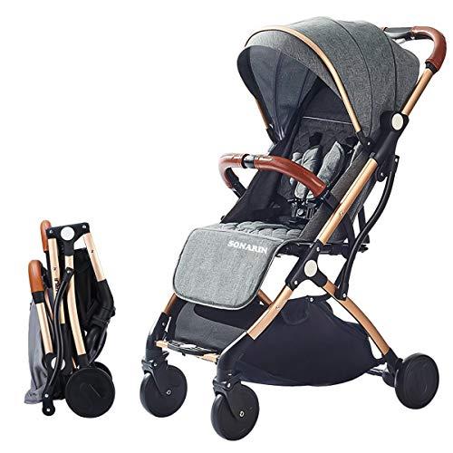 SONARIN Leicht Kinderwagen,kompakt Reise Buggy,einhändig faltbar,Fünf Punkt Gurt,ideal für...