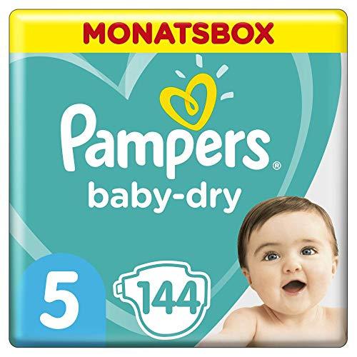 Pampers Baby-Dry Windeln, Gr. 5, 11-16kg, Monatsbox (1 x 144 Windeln), bis zu 12 Stunden Rundum-Auslaufschutz