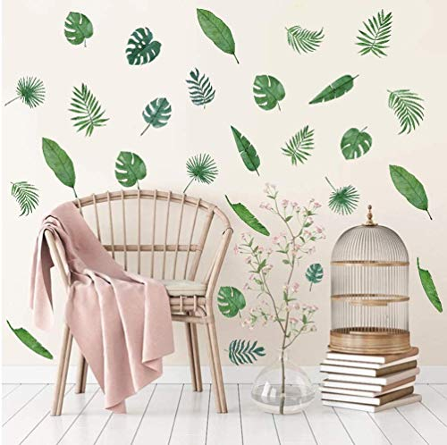 39 Stück Grünes Blatt Wandaufkleber,Wandsticker für Wohnzimmer, Moderne Pflanze Wandtattoo,DIY Abnehmbar...