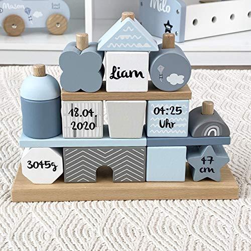 Geschenk zur Geburt Junge'Steckspiel Haus' blau - bedruckt personalisierbar - Stapelturm mit Name &...