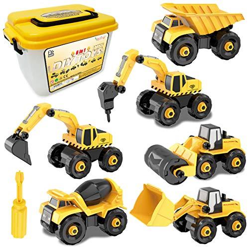Vanplay Montage Große LKW Spielzeug DIY 6-in-1 BAU Bagger Spielzeug mit Schraubendreher für Kinder Jungen...