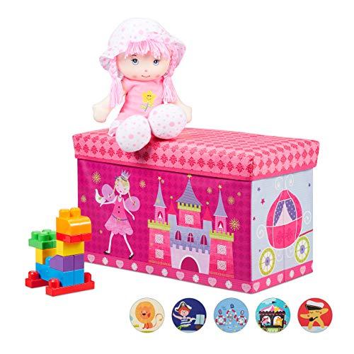 Relaxdays Sitzbox Kinder, Faltbare Aufbewahrungsbox mit Stauraum, Deckel, Prinzessin & Fee, 50 Liter,...