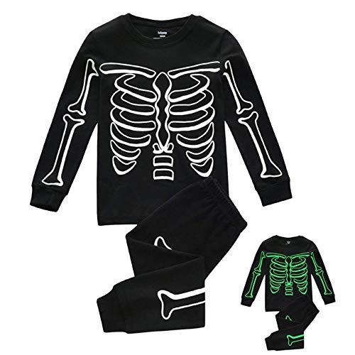 FeiliandaJJ Jungen Schlafanzug Glow in Dunkel Halloween Skelett Langarm Pyjama Set Jungen Herbst Winter Warm...
