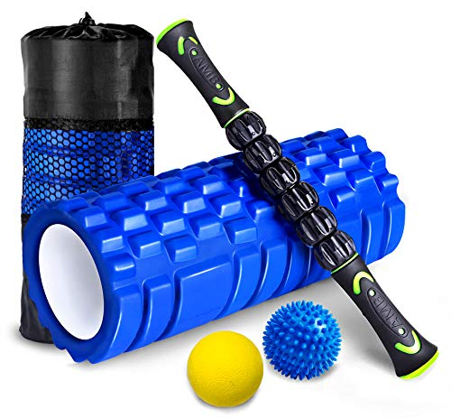 HBselect Faszienrolle Set Wirbelsäule Foam Roller Massagerollen Duoball Massagestäbchen Massageball (4 in 1...