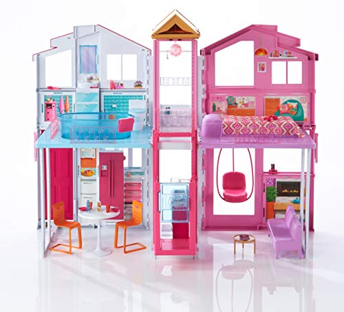 Barbie DLY32 ESTATE Three-Story Town House Colourful and Bright Doll House Comes with Furniture and...